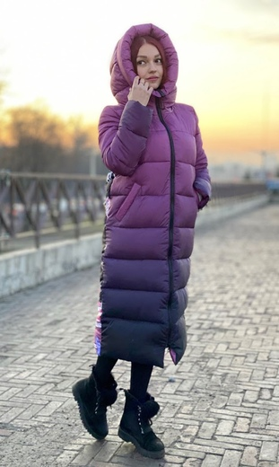 """Straight down jacket for female Boo&Bon """"Girl on stairs"""""""
