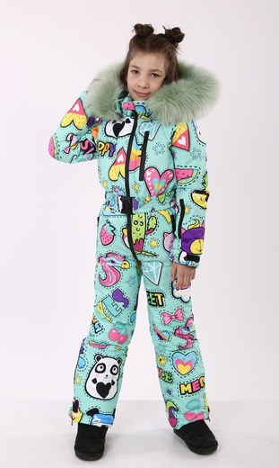 """Winter jumpsuit for teenagers Boo&Bon """"Stickers mint"""""""