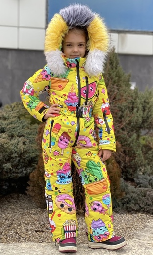 """Winter jumpsuit for teenagers Boo&Bon """"Stickers yellow"""""""
