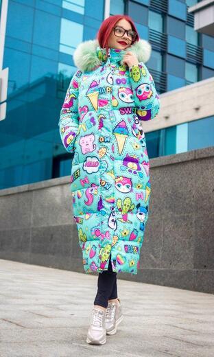 """Oversized women's down jacket Boo&Bon """"Mint Stickers"""""""