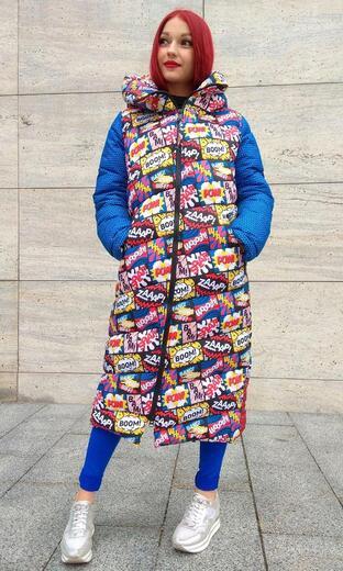 "Straight down jacket for female Boo&Bon ""Cartoon Kansas """
