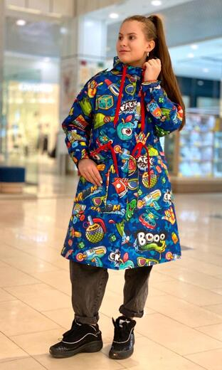 "Raincoat for teenagers Boo&Bon ""Stickers blue"""