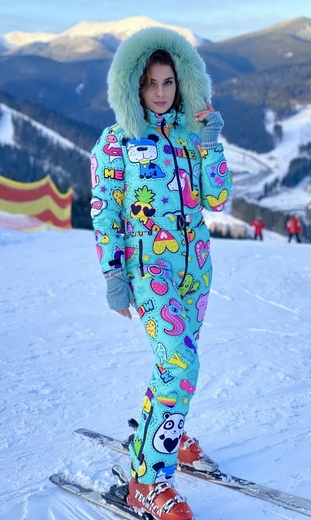 """Winter jumpsuit for female Boo&Bon """"Stickers mint"""""""