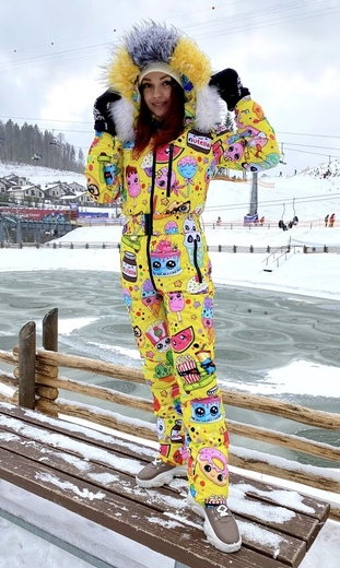 """Winter jumpsuit for female Boo&Bon """"Stickers yellow"""""""